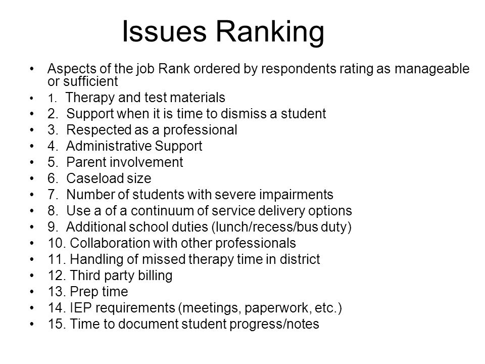 Issues Ranking Aspects of the job Rank ordered by respondents rating as manageable or sufficient 1. Therapy and test materials 2. Support when it is t