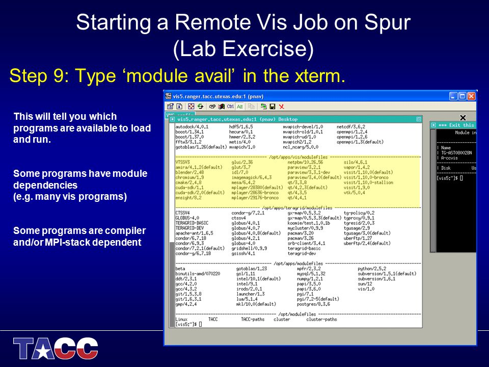 Starting a Remote Vis Job on Spur (Lab Exercise) Step 9: Type 'module avail' in the xterm. This will tell you which programs are available to load and