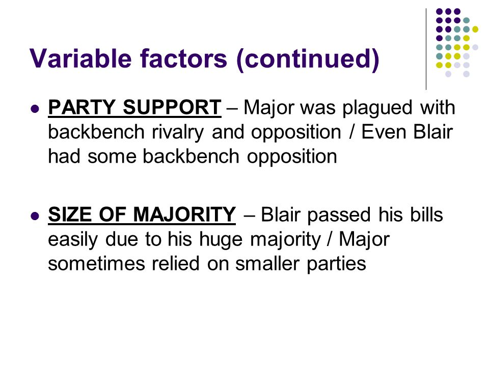 Variable factors (continued) PARTY SUPPORT – Major was plagued with backbench rivalry and opposition / Even Blair had some backbench opposition SIZE O