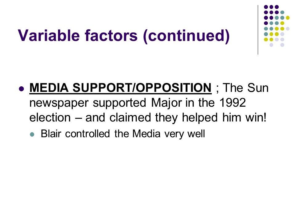 Variable factors (continued) MEDIA SUPPORT/OPPOSITION ; The Sun newspaper supported Major in the 1992 election – and claimed they helped him win! Blai