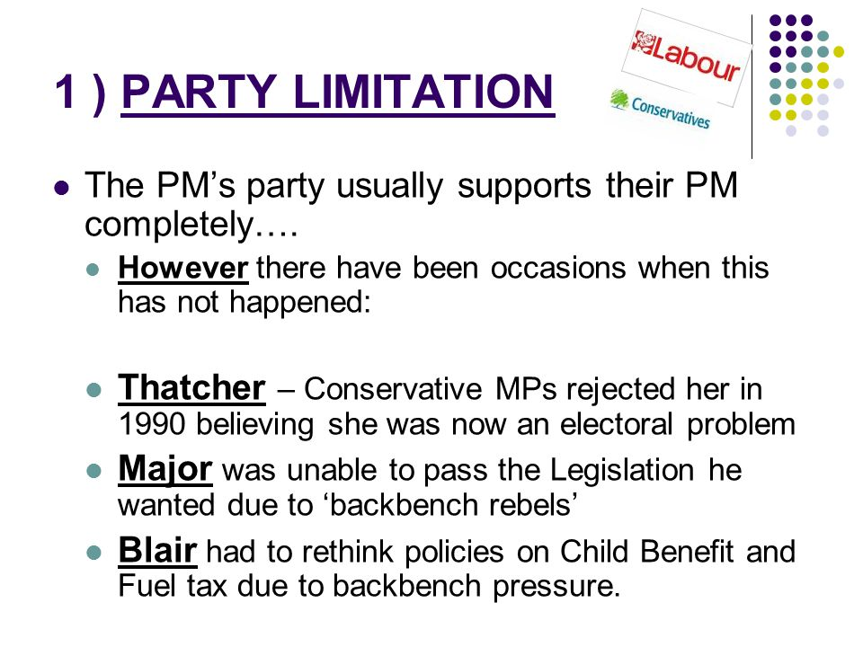 1 ) PARTY LIMITATION The PM's party usually supports their PM completely…. However there have been occasions when this has not happened: Thatcher – Co