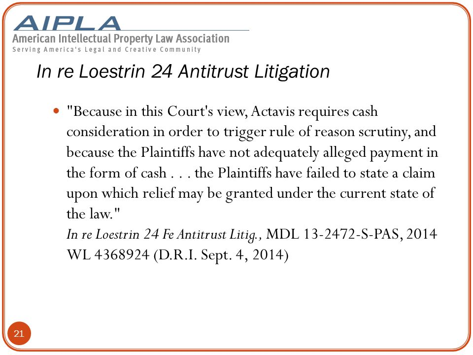 Because in this Court s view, Actavis requires cash consideration in order to trigger rule of reason scrutiny, and because the Plaintiffs have not adequately alleged payment in the form of cash...