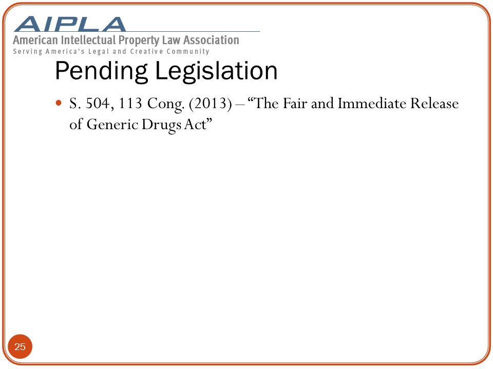 Pending Legislation S.504, 113 Cong.