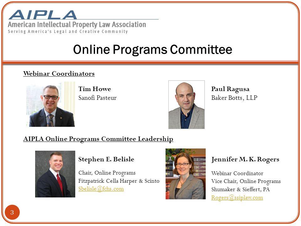 Online Programs Committee Webinar Coordinators AIPLA Online Programs Committee Leadership 3 Stephen E.