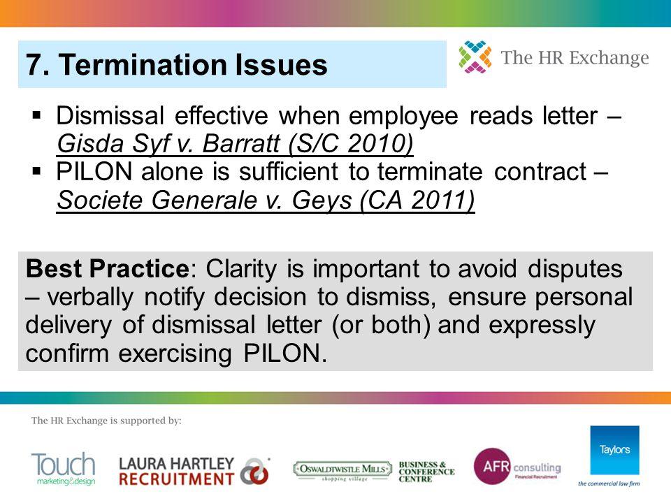  Dismissal effective when employee reads letter – Gisda Syf v.