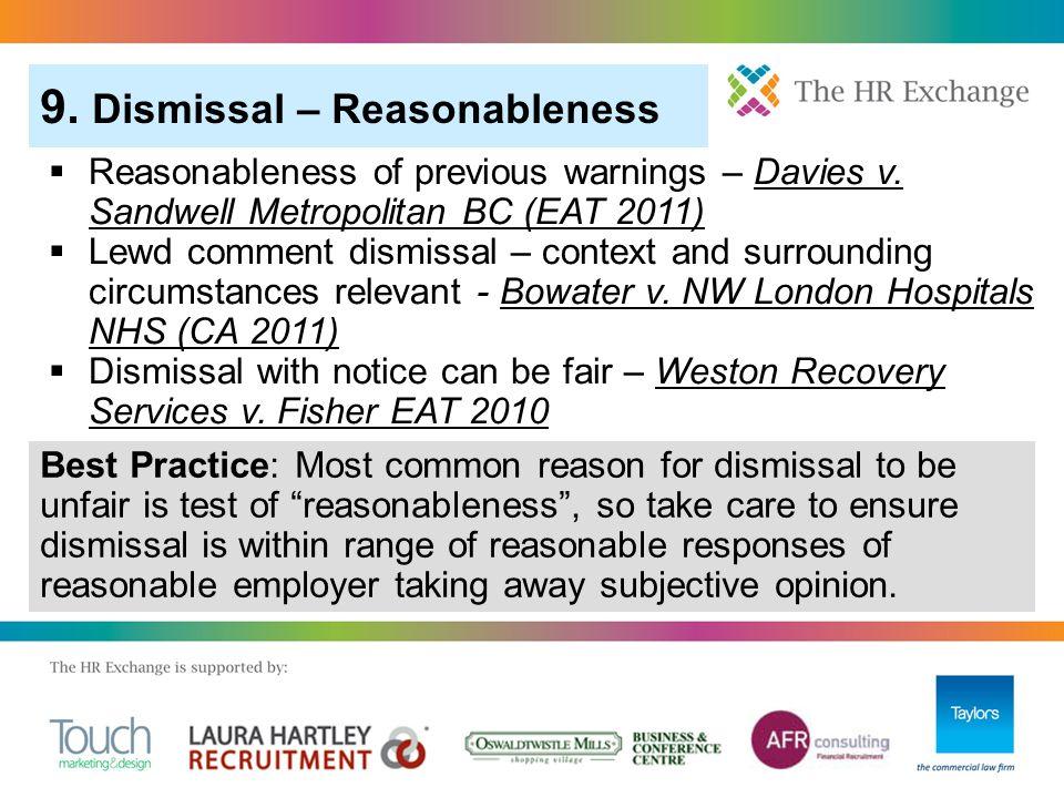  Reasonableness of previous warnings – Davies v.