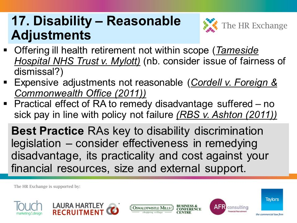  Offering ill health retirement not within scope (Tameside Hospital NHS Trust v.