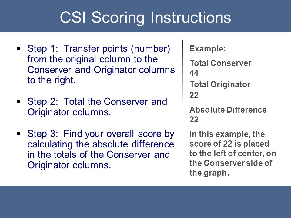 CSI Prediction  Step 1: Transfer points (number) from the original column to the Conserver and Originator columns to the right.  Step 2: Total the C