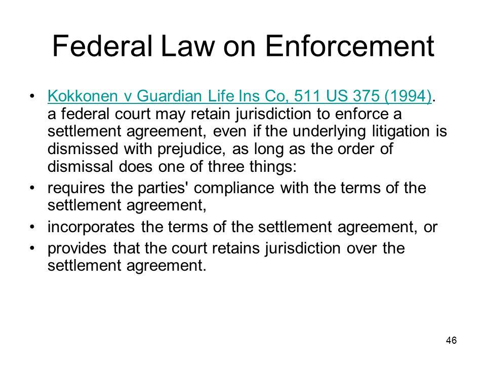 46 Federal Law on Enforcement Kokkonen v Guardian Life Ins Co, 511 US 375 (1994).