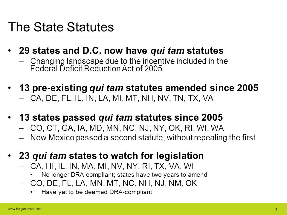 www.hoganlovells.com 4 The State Statutes 29 states and D.C.