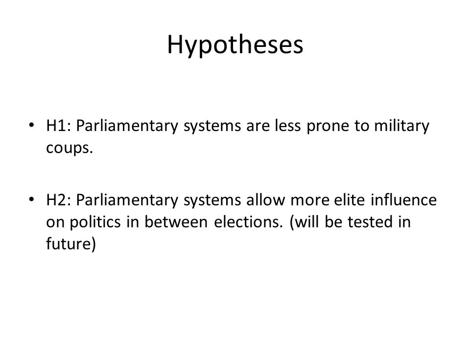 Hypotheses H1: Parliamentary systems are less prone to military coups.