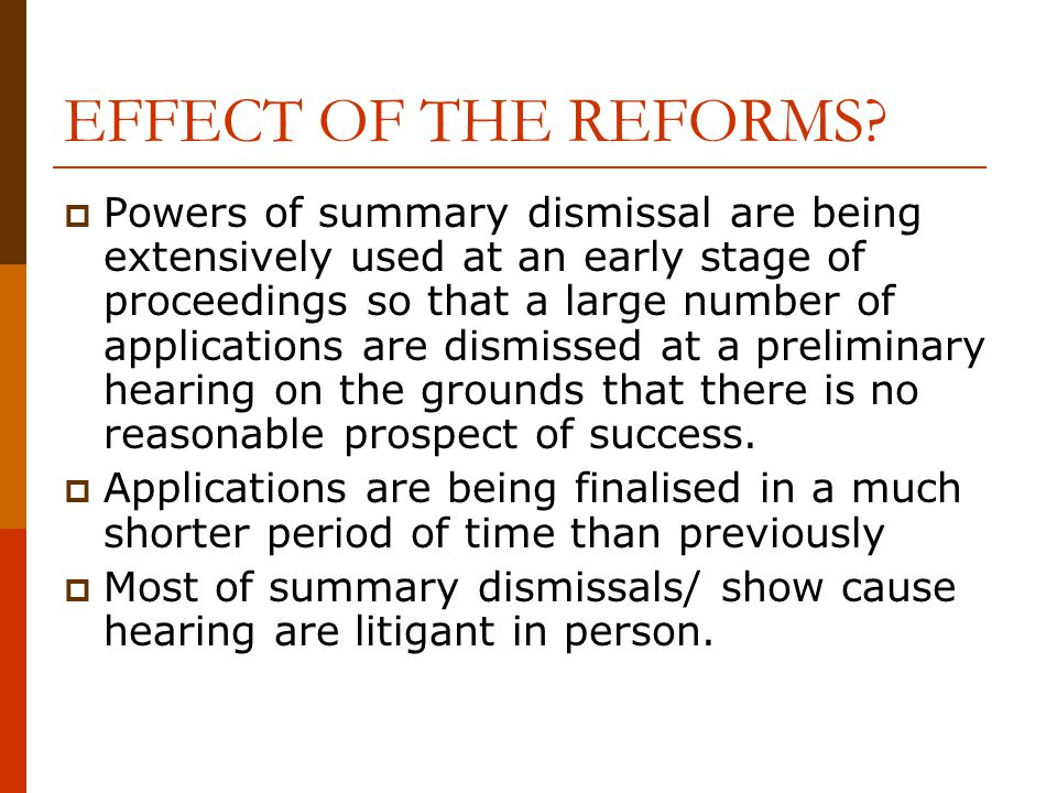 EFFECT OF THE REFORMS.