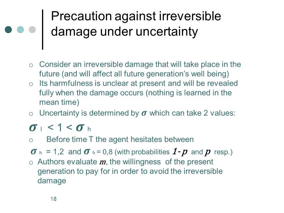 Precaution against irreversible damage under uncertainty 18
