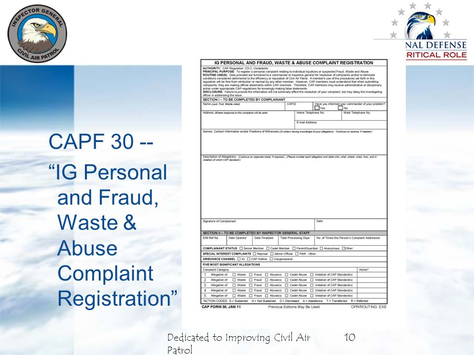 10Dedicated to Improving Civil Air Patrol CAPF 30 -- IG Personal and Fraud, Waste & Abuse Complaint Registration