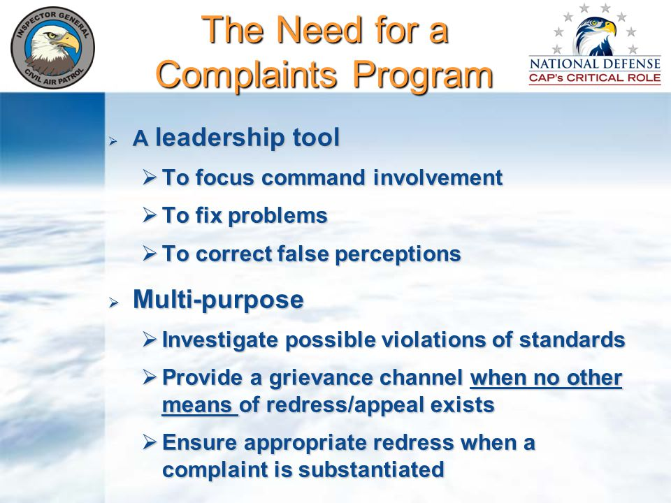 Complaint Analysis Frequently, much of material in the complaint is irrelevant or may not even make sense Review the material and attempt to determine what the complainant's issues are Read the complaint without being judgmental or drawing any conclusions What specific remedy is the complainant seeking.