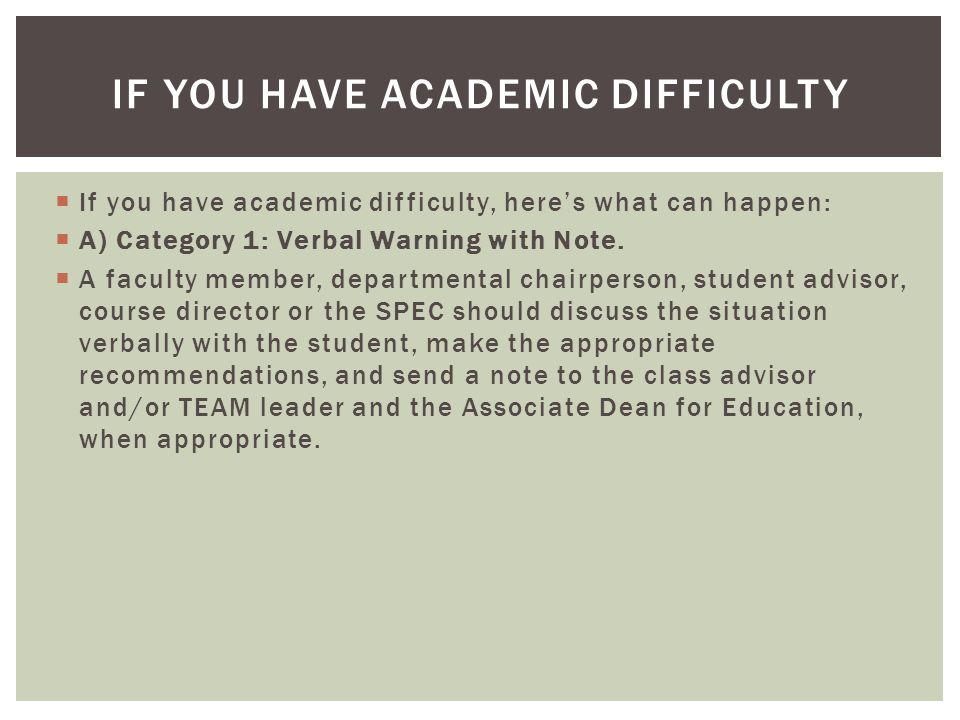  If you have academic difficulty, here's what can happen:  A) Category 1: Verbal Warning with Note.
