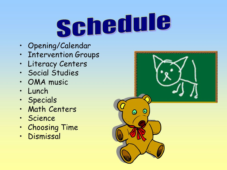 Opening/Calendar Intervention Groups Literacy Centers Social Studies OMA music Lunch Specials Math Centers Science Choosing Time Dismissal
