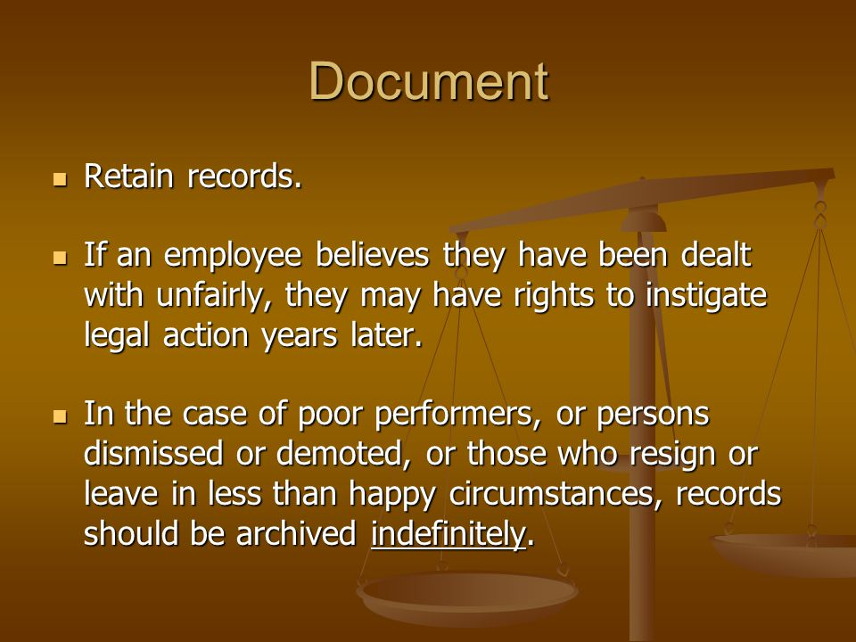 Document Retain records. Retain records.