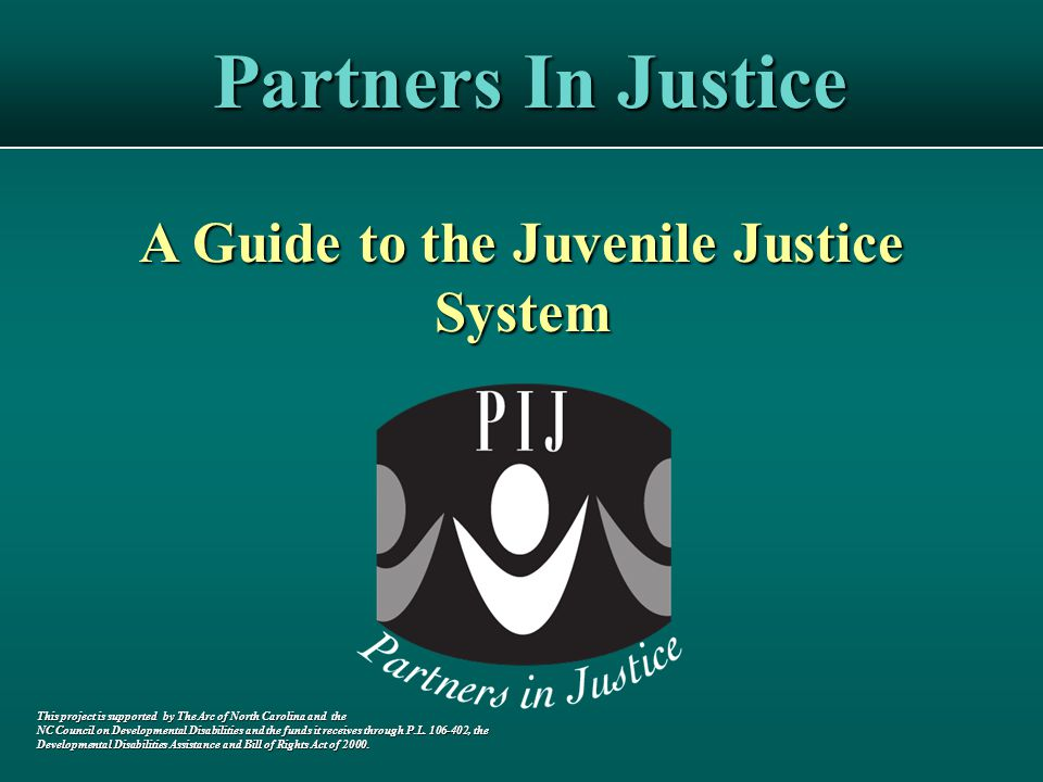 Partners In Justice A Guide to the Juvenile Justice System This project is supported by The Arc of North Carolina and the NC Council on Developmental Disabilities and the funds it receives through P.L.