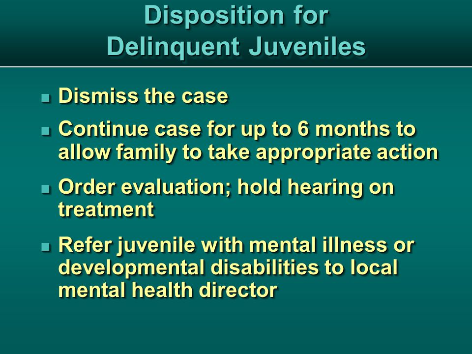 Disposition for Delinquent Juveniles Dismiss the case Dismiss the case Continue case for up to 6 months to allow family to take appropriate action Continue case for up to 6 months to allow family to take appropriate action Order evaluation; hold hearing on treatment Order evaluation; hold hearing on treatment Refer juvenile with mental illness or developmental disabilities to local mental health director Refer juvenile with mental illness or developmental disabilities to local mental health director Dismiss the case Dismiss the case Continue case for up to 6 months to allow family to take appropriate action Continue case for up to 6 months to allow family to take appropriate action Order evaluation; hold hearing on treatment Order evaluation; hold hearing on treatment Refer juvenile with mental illness or developmental disabilities to local mental health director Refer juvenile with mental illness or developmental disabilities to local mental health director