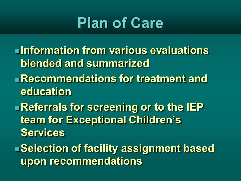 Plan of Care Information from various evaluations blended and summarized Information from various evaluations blended and summarized Recommendations for treatment and education Recommendations for treatment and education Referrals for screening or to the IEP team for Exceptional Children's Services Referrals for screening or to the IEP team for Exceptional Children's Services Selection of facility assignment based upon recommendations Selection of facility assignment based upon recommendations Information from various evaluations blended and summarized Information from various evaluations blended and summarized Recommendations for treatment and education Recommendations for treatment and education Referrals for screening or to the IEP team for Exceptional Children's Services Referrals for screening or to the IEP team for Exceptional Children's Services Selection of facility assignment based upon recommendations Selection of facility assignment based upon recommendations