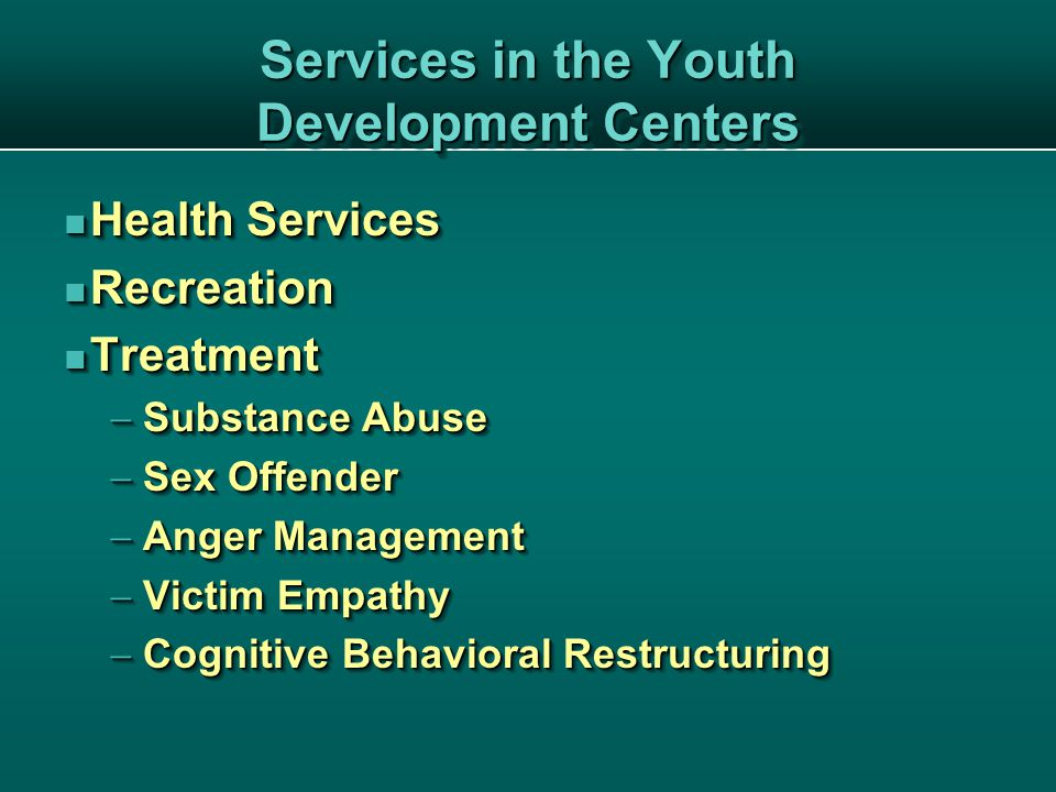 Services in the Youth Development Centers Health Services Health Services Recreation Recreation Treatment Treatment  Substance Abuse  Sex Offender  Anger Management  Victim Empathy  Cognitive Behavioral Restructuring Health Services Health Services Recreation Recreation Treatment Treatment  Substance Abuse  Sex Offender  Anger Management  Victim Empathy  Cognitive Behavioral Restructuring