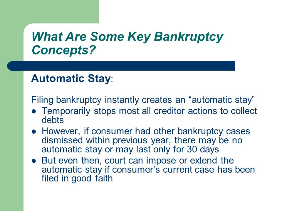 What Are Some Key Bankruptcy Concepts.