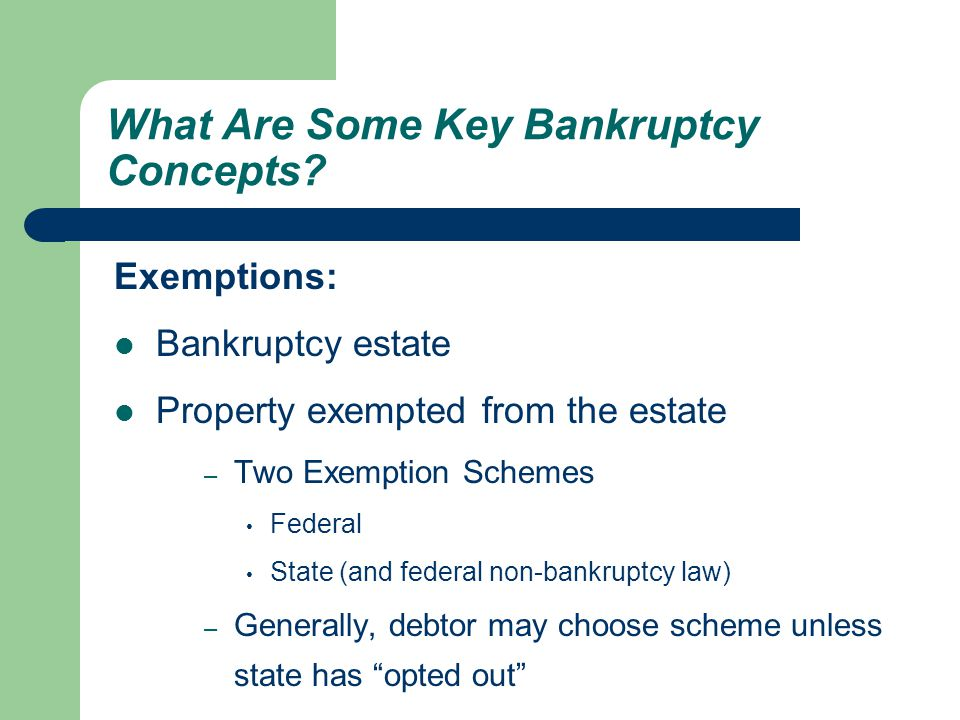 Exemptions: Bankruptcy estate Property exempted from the estate – Two Exemption Schemes Federal State (and federal non-bankruptcy law) – Generally, debtor may choose scheme unless state has opted out What Are Some Key Bankruptcy Concepts?