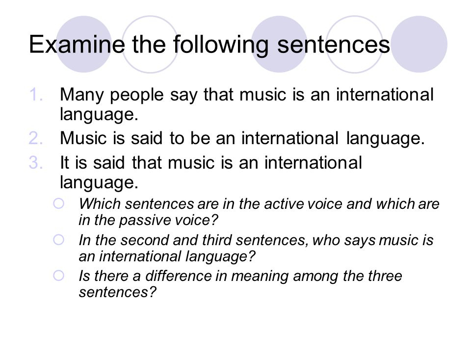 Examine the following sentences 1.Many people say that music is an international language. 2.Music is said to be an international language. 3.It is sa