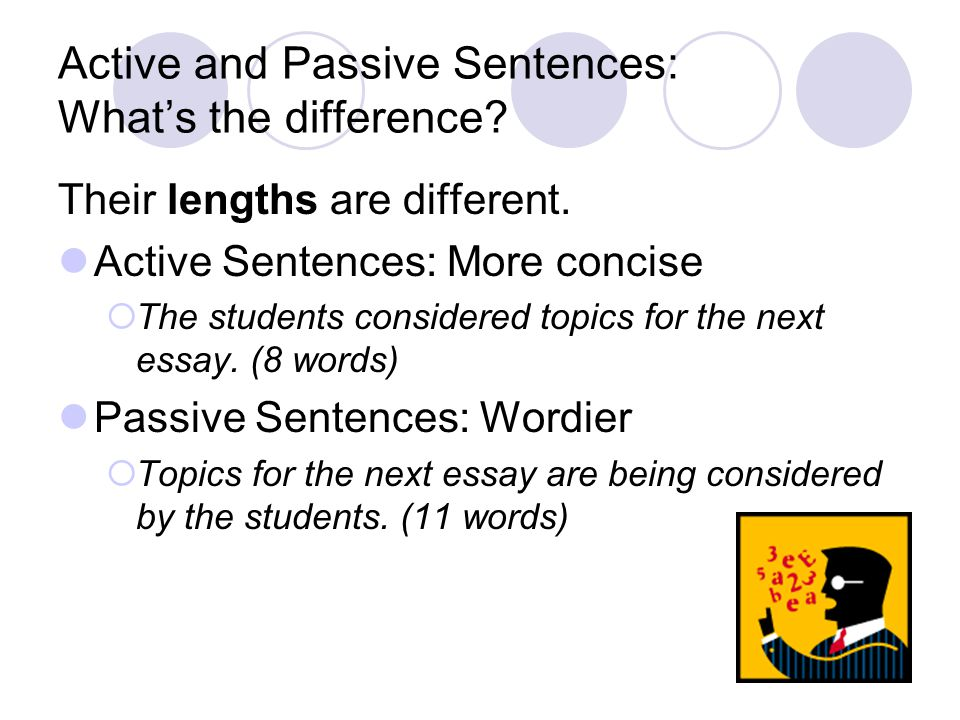 Active and Passive Sentences: What's the difference? Their lengths are different. Active Sentences: More concise  The students considered topics for