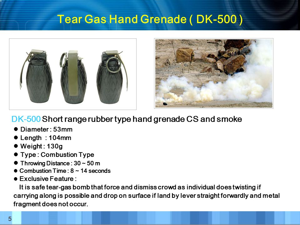 16 Tear Gas Cartridge ( DK-101 ) Diameter : 12 gauge Length : 60mm Weight : About 12g Primer : Percussion Primer Exclusive Feature : Put 4 pieces of DK-100 to launcher and thread propulsion cartridge to hunting gun.