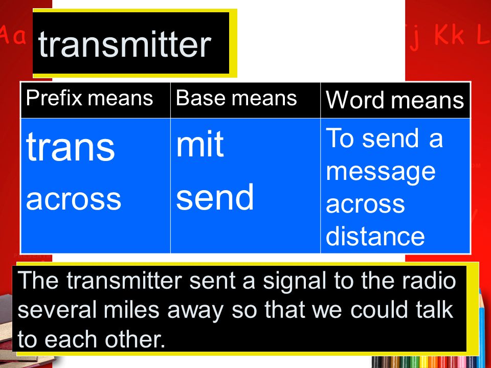 Prefix meansBase means Word means trans across mit send To send a message across distance transmitter The transmitter sent a signal to the radio sever