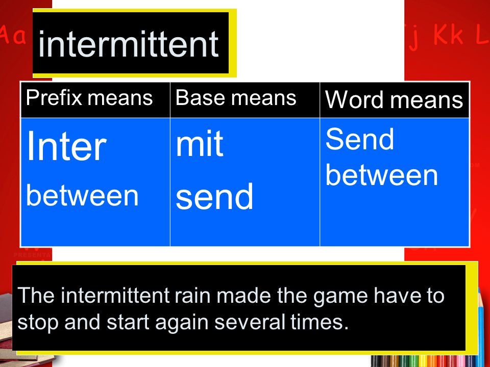 Prefix meansBase means Word means Inter between mit send Send between intermittent The intermittent rain made the game have to stop and start again se