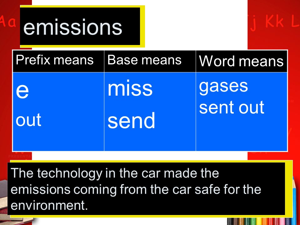 Prefix meansBase means Word means e out miss send gases sent out emissions The technology in the car made the emissions coming from the car safe for t