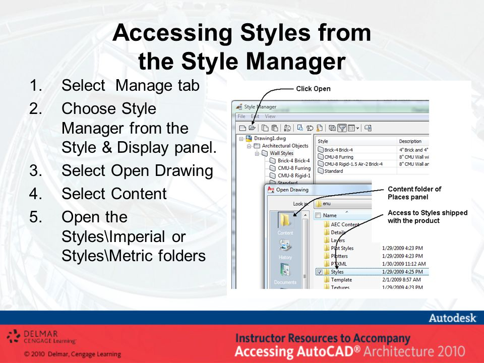 Assigning Classifications Import classifications in the Style Manager from Document and Settings\All Users\Application Data\Autodesk\ACA 2010\enu\Styles\Imperial\Uniformat II Classifications (1997 ed).dwg Classifications can be created for fire rating or structural properties as shown above.