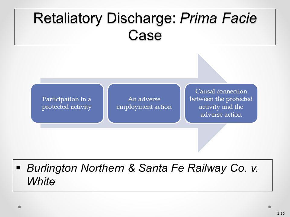 2-15 Retaliatory Discharge: Prima Facie Case  Burlington Northern & Santa Fe Railway Co. v. White Participation in a protected activity An adverse em