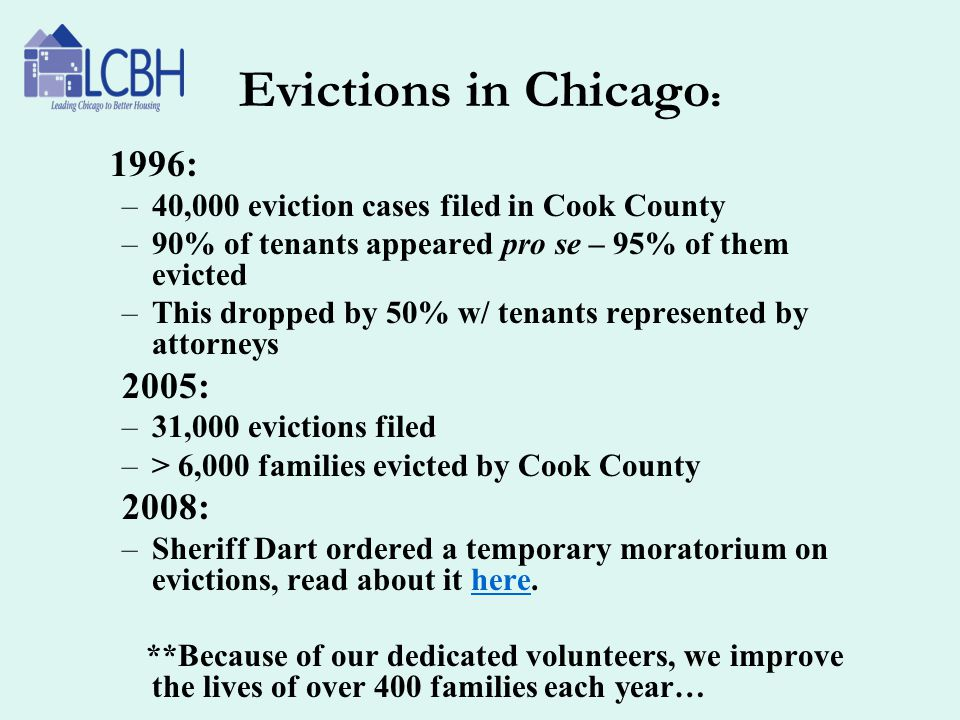 Evictions in Chicago : 1996: –40,000 eviction cases filed in Cook County –90% of tenants appeared pro se – 95% of them evicted –This dropped by 50% w/