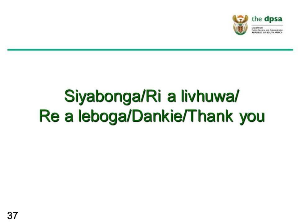 37 Siyabonga/Ri a livhuwa/ Re a leboga/Dankie/Thank you Siyabonga/Ri a livhuwa/ Re a leboga/Dankie/Thank you