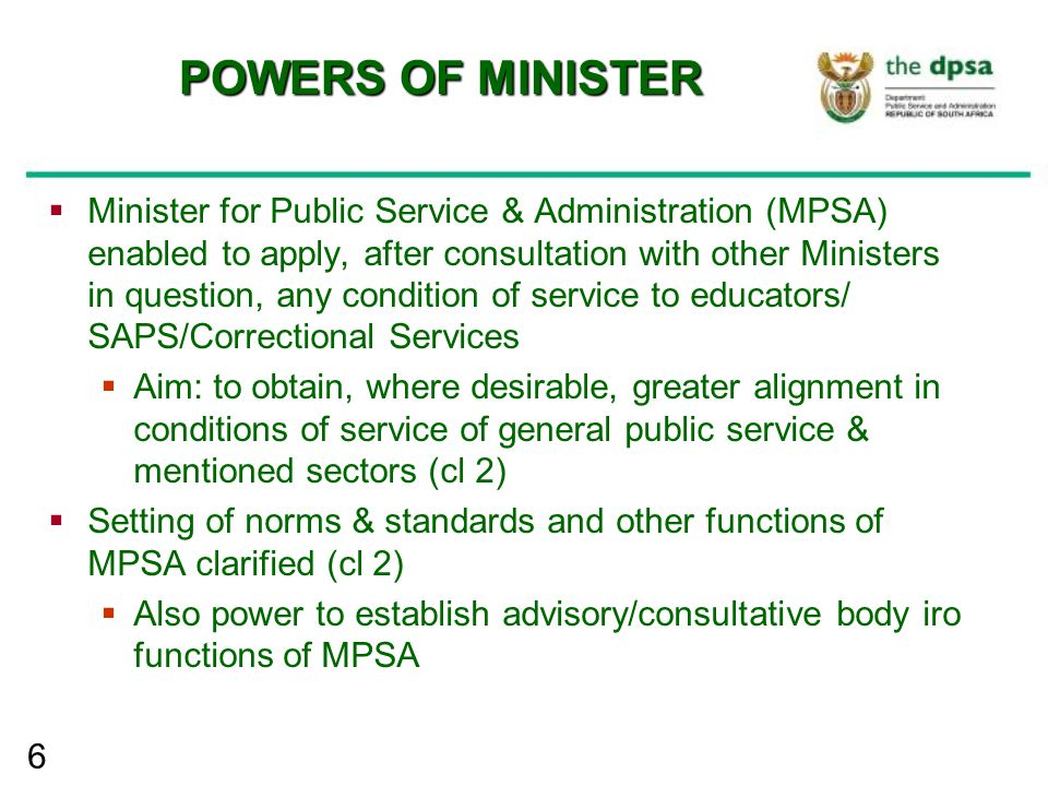 17 GOVERNMENT AGENCIES  Main differences between departments and government agencies  Government agency would be body established to perform specific functions  Unlike departments, an agency would not have core policy development function  Unlike most departments, agency may have assigned functions with accompanying direct accountability  A government agency is to be partnered with department which must assist executive authority with oversight in respect of policy implementation  Contrary to department, agency may have advisory or consultative board  Mechanism to bring back to public service institutions outside public service which have functions that should be performed by institutions in public service