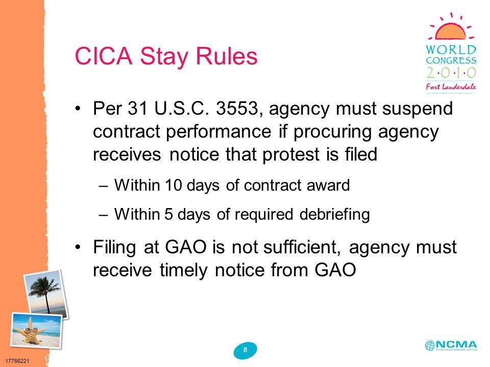 17756221 8 CICA Stay Rules Per 31 U.S.C.