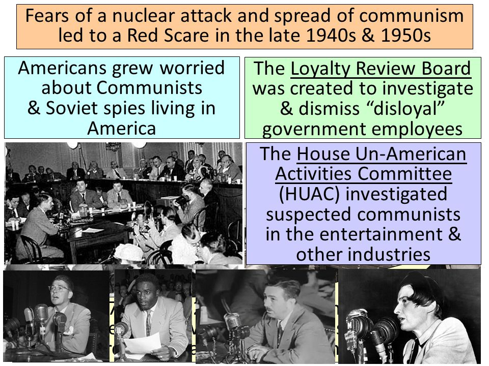 Fears of a nuclear attack and spread of communism led to a Red Scare in the late 1940s & 1950s Americans grew worried about Communists & Soviet spies