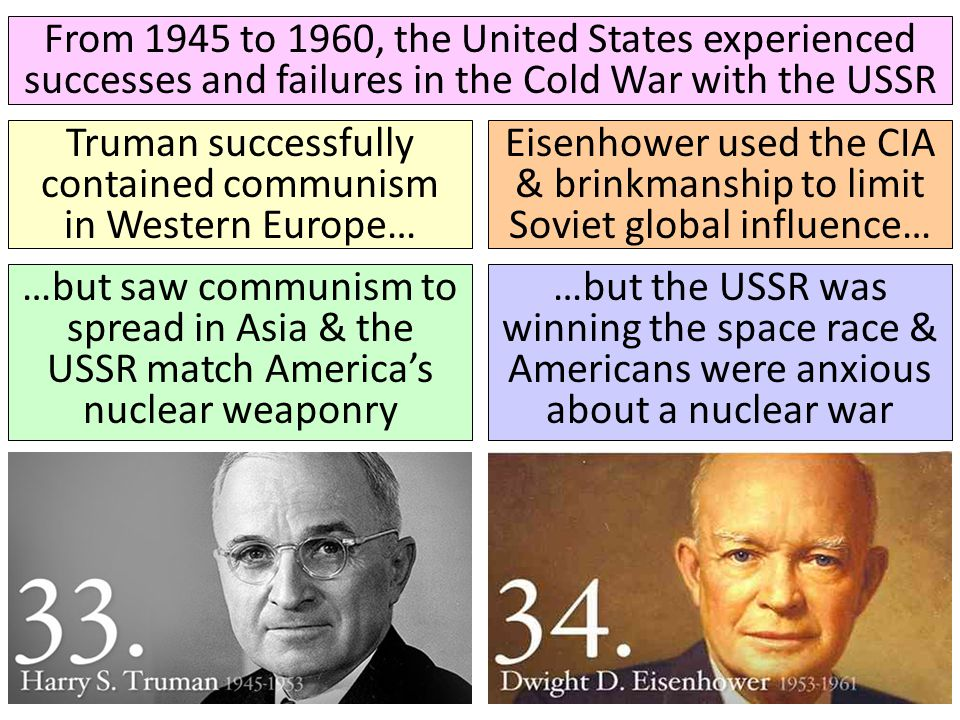 From 1945 to 1960, the United States experienced successes and failures in the Cold War with the USSR Truman successfully contained communism in Weste
