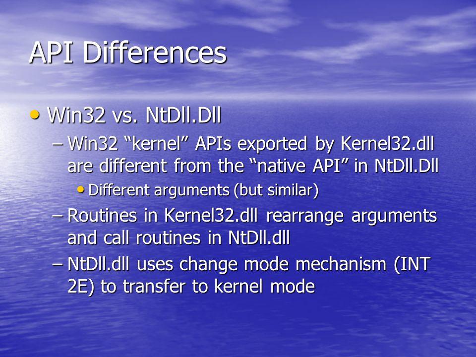API Differences Win32 vs. NtDll.Dll Win32 vs.
