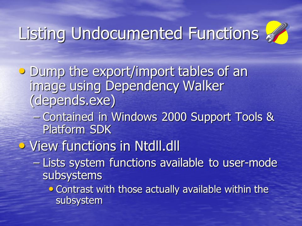 System Start-up Processes (2) winlogon.exeLogon process: Launches services & lsass.exe; Presents first login prompt.