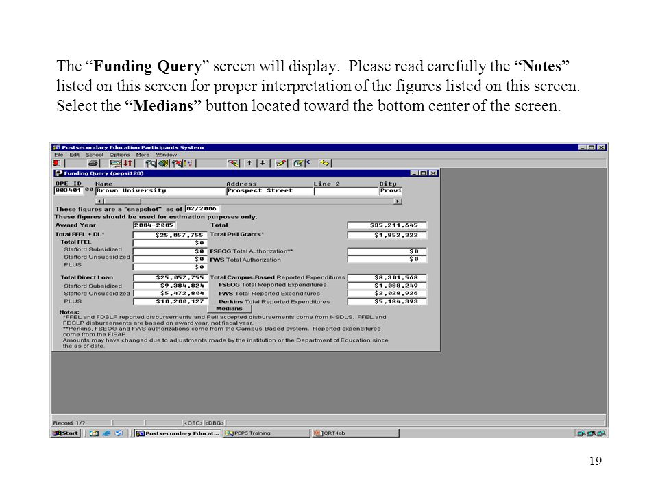19 The Funding Query screen will display.