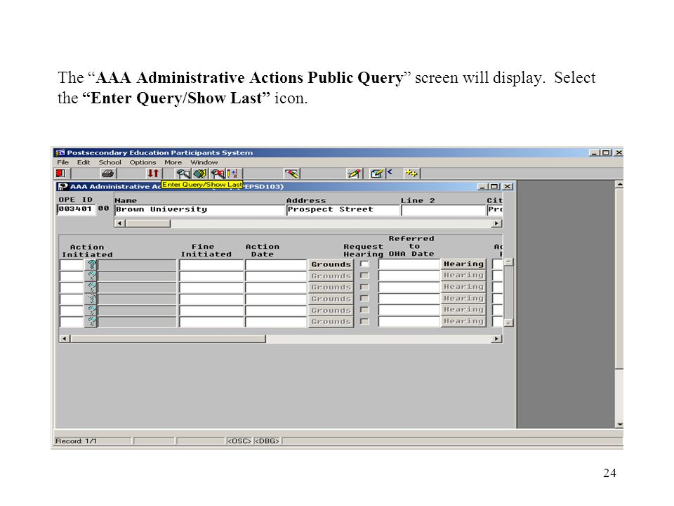 24 The AAA Administrative Actions Public Query screen will display.