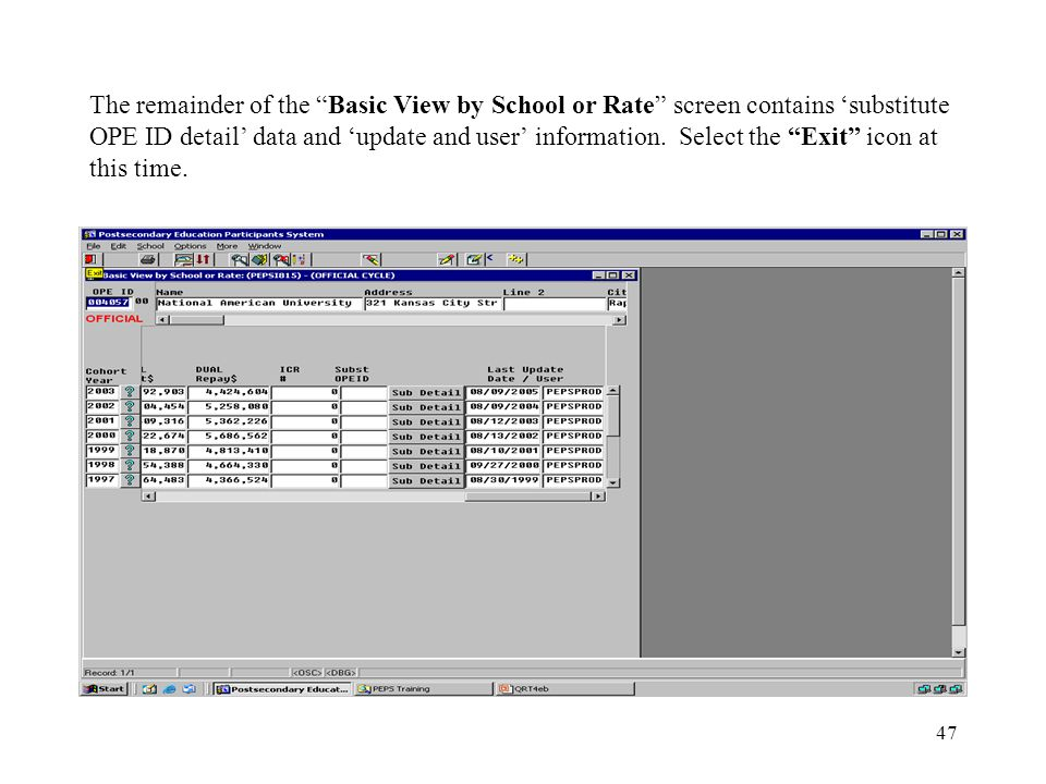 47 The remainder of the Basic View by School or Rate screen contains 'substitute OPE ID detail' data and 'update and user' information.