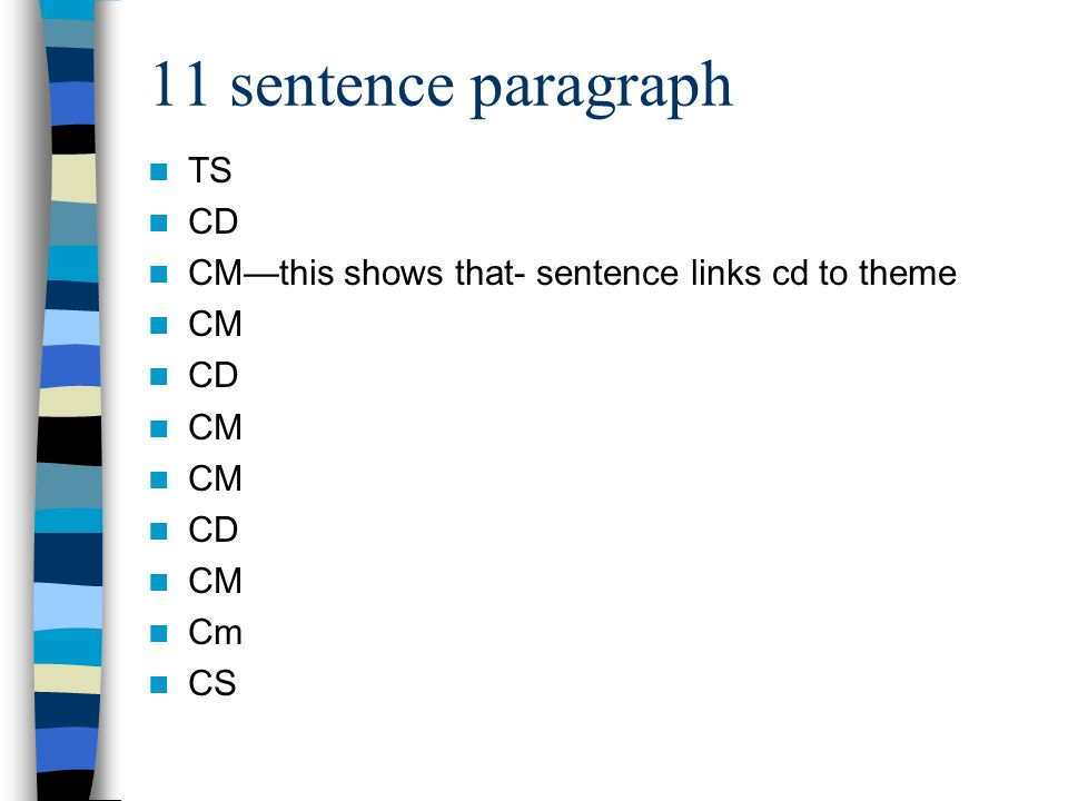 11 sentence paragraph TS CD CM—this shows that- sentence links cd to theme CM CD CM CD CM Cm CS