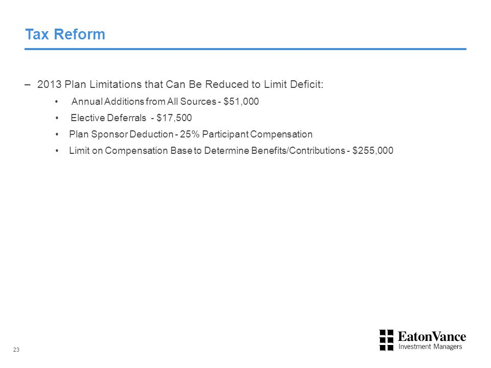 Tax Reform – 2013 Plan Limitations that Can Be Reduced to Limit Deficit: Annual Additions from All Sources - $51,000 Elective Deferrals - $17,500 Plan Sponsor Deduction - 25% Participant Compensation Limit on Compensation Base to Determine Benefits/Contributions - $255,000 23