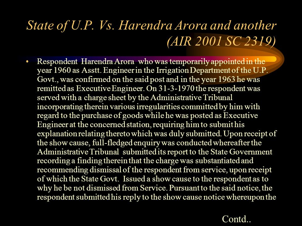 State of U.P. Vs. Harendra Arora and another (AIR 2001 SC 2319) Constitution of India, Arts. 309, 311(2) – Civil Services (Classification, Control and